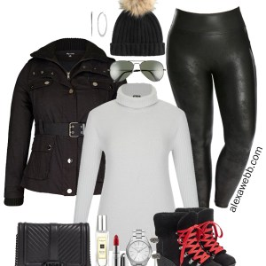 Plus Size Faux Leather Leggings Outfit - Plus Size Winter Outfit Ideas - Plus Size Fashion for Women - alexawebb.com #plussize #alexawebb