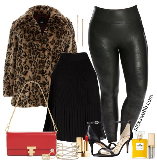 Plus Size Faux Leather Leggings Outfit - Leopard Coat - Plus Size Fashion for Women - alexawebb.com #plussize #alexawebb