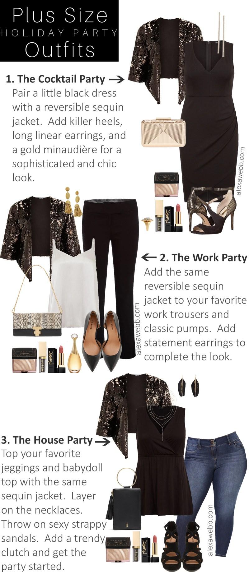 c8b3f9cbad86d Plus Size Holiday Party Outfits - Plus Size Sequin Jacket, Little Black  Dress - Plus