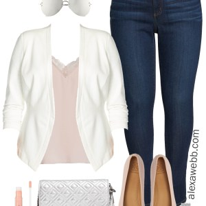Plus Size Outfit - Nordstrom Half Yearly Sale - Plus Size White Blazer and Skinny Jeans - Plus Size Fashion for Women - Alexa Webb #plussize #alexawebb