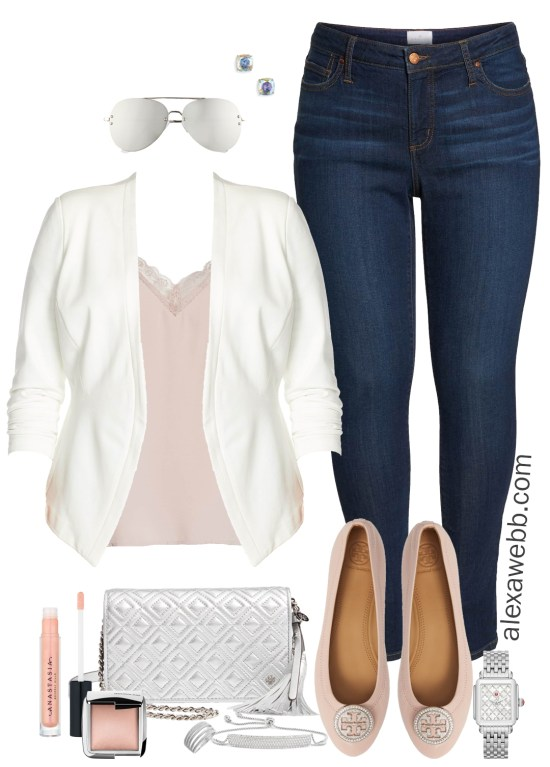 Plus Size Outfit - Nordstrom Half Yearly Sale - Plus Size White Blazer and Skinny Jeans - Plus Size Fashion for Women - Alexa Webb #plussize #alexawebb