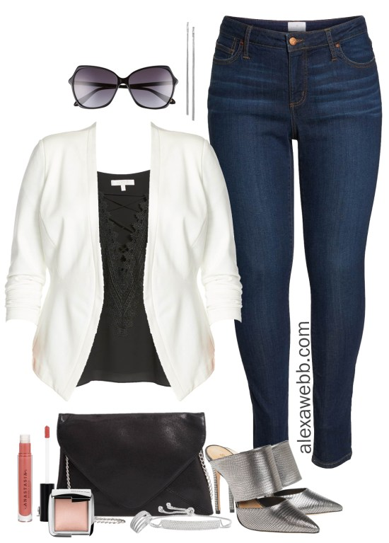 087a9f6e0dc Plus Size Outfit - Nordstrom Half Yearly Sale - Plus Size White Blazer and  Skinny Jeans