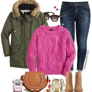 Plus Size Pink Sweater Outfit - Plus Size Winter Outfit, Parka, Booties - Plus Size Fashion for Women - alexawebb.com #plussize #alexawebb
