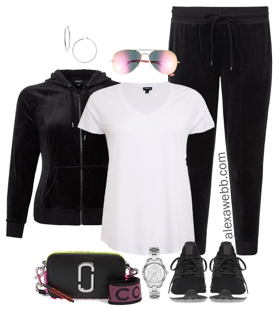 Plus Size Easy Athleisure Outfit Ideas - Velour Joggers Set - Plus Size Fashion for Women - alexawebb.com #plussize #alexawebb