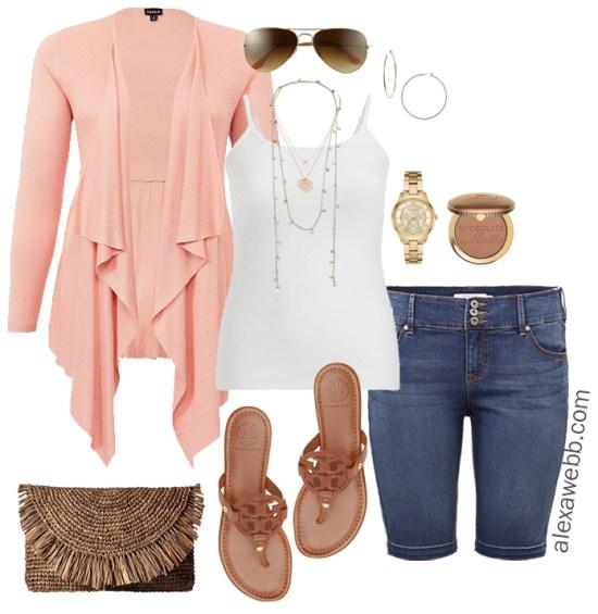 Plus Size Casual Vacation Outfits- Cruise Wear - Plus Size Denim Bermuda Shorts - Plus Size Fashion - Alexa Webb - alexawebb.com #plussize #alexawebb