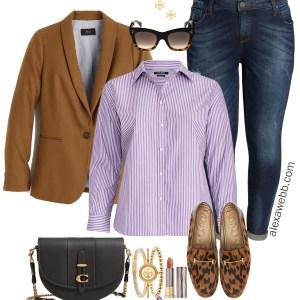 Plus Size Preppy Blazer Outfit - Blazer, Boyfriend Jeans, Loafers - Plus Size Fashion for Women - Alexa Webb alexawebb.com #plussize #alexawebb