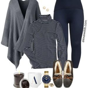 Plus Size Preppy Loungewear - Plus Size Leggings and Wrap - alexawebb.com #plussize #alexawebb