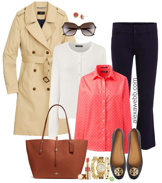Plus Size Spring Layers Work Outfit - Plus Size Workwear - Trench coat, cardigan, coral shirt, navy trousers, flats, tote - Alexawebb.com #plussize #alexawebb
