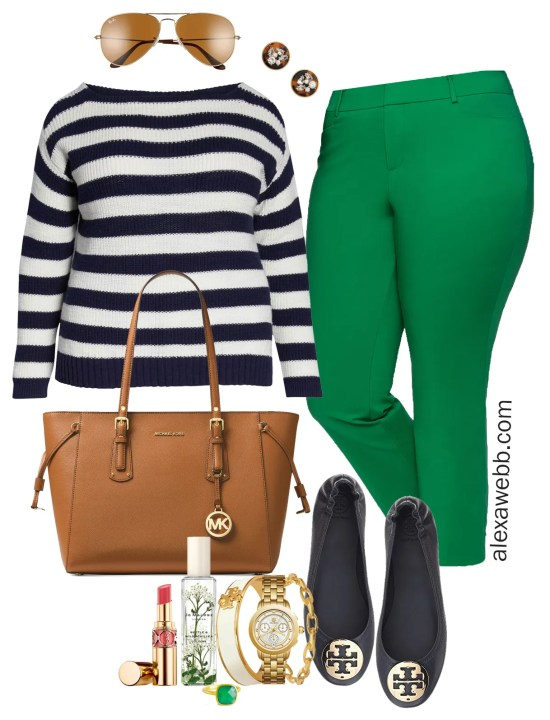Plus Size Bright Green Pants Outfits - Plus Size Spring Work Outfit Idea - Plus Size Fashion for Women - alexawebb.com #plussize #alexawebb