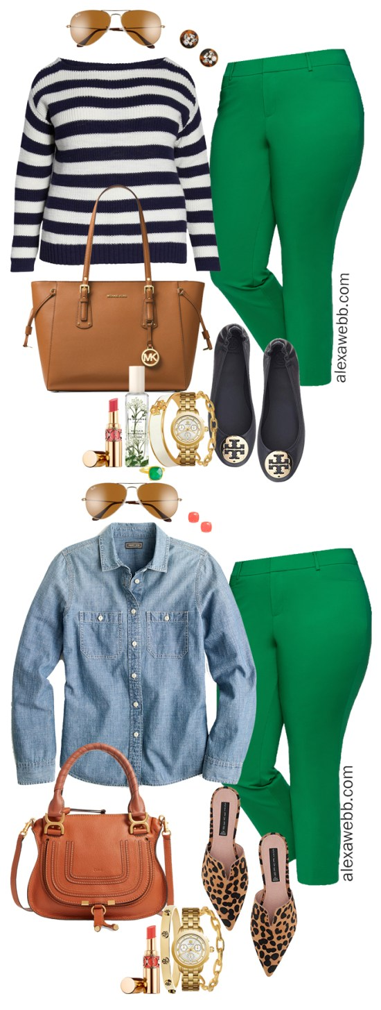 Plus Size Bright Green Pants Outfits - Plus Size Spring Summer Work Outfit Idea - Plus Size Fashion for Women - alexawebb.com #plussize #alexawebb