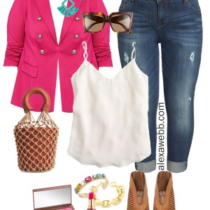 Plus Size Hot Pink Blazer Outfit - Plus Size Casual Spring Summer Outfit Idea - Plus Size Fashion for Women - alexawebb.com #plussize #alexawebb