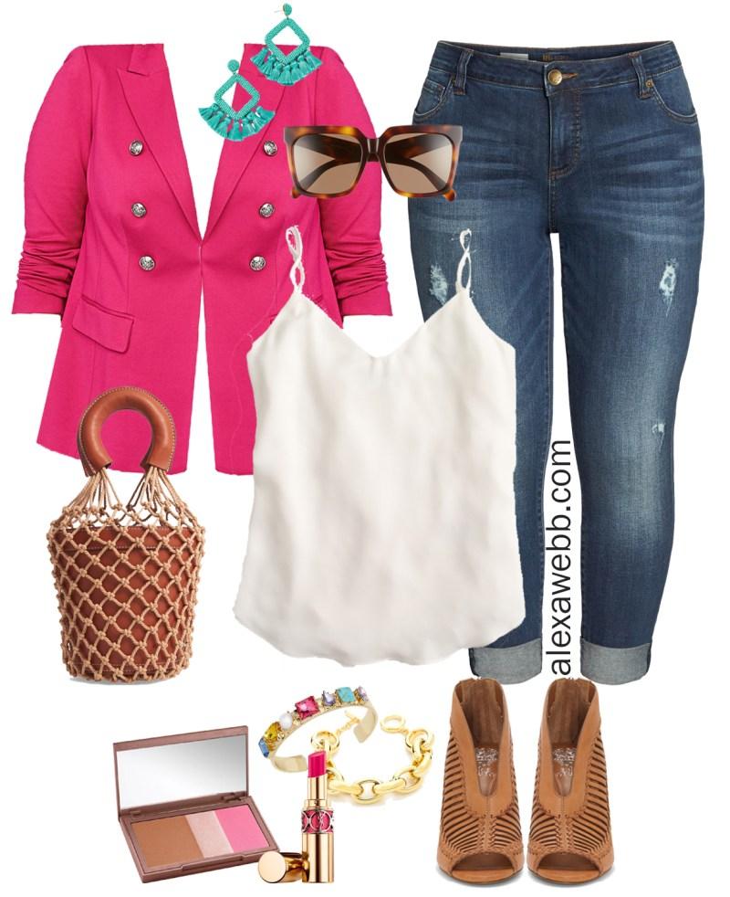 Plus Size Hot Pink Blazer Outfit - Plus Size Casual Spring Summer Outfit Idea - Plus Size Fashion for Women - alexawebb.com #plussize #alexawebb