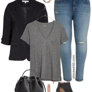 Plus Size Black Blazer Outfit - Plus Size Jeans, T-Shirt, and Sandals - Plus Size Fashion for Women - alexawebb.com #plussize #alexawebb
