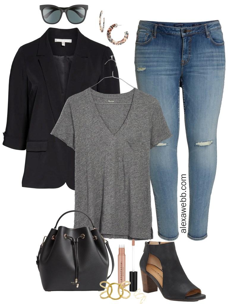 0083d937059 Plus Size Black Blazer Outfit - Alexa Webb