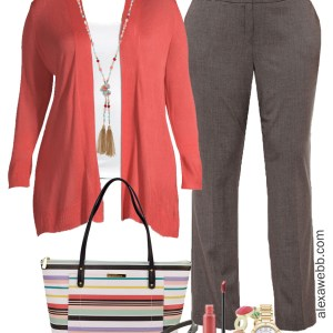 Plus Size Coral Work Outfit - Plus size coral cardigan, grey trousers, striped tote, wide width heels - Plus Size Workwear - alexawebb.com #plussize #alexawebb