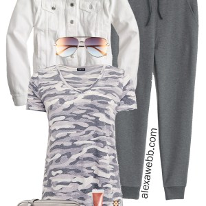 Plus Size Joggers Outfit - Athleisure - Camo T-Shirt, White Denim Jacket, Sneakers - Plus Size Fashion for Women - alexawebb.com #plussize #alexawebb