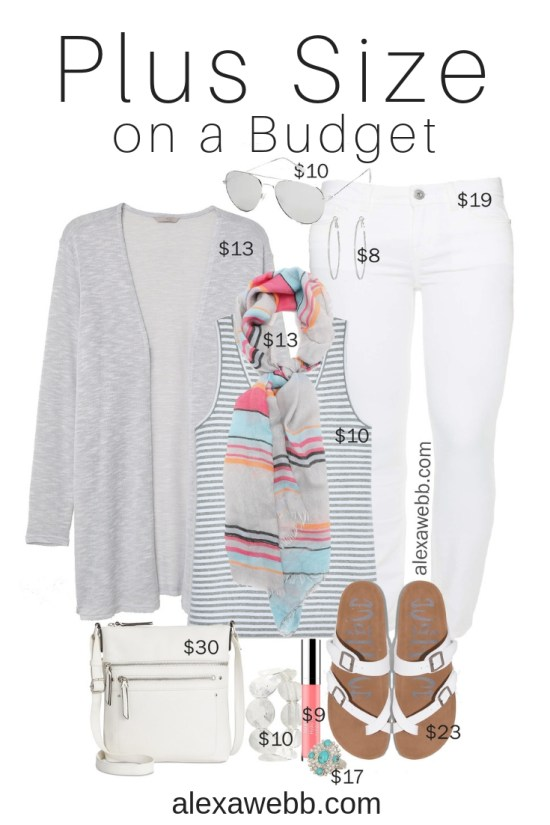 Plus Size on a Budget – Spring Casual Outfit - Plus Size White Jeans, Grey Cardigan, Sandals, Spring Scarf - Plus Size Fashion for Women - alexawebb.com #plussize #alexawebb