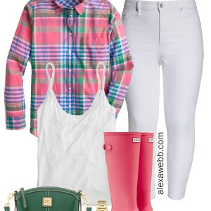 Plus Size Plaid Spring Outfit Idea - Plus Size White Jeans, Wide Calf Hunter Boots, Green Crossbody Bag - Plus Size Fashion for Women - alexawebb.com #plussize #alexawebb