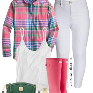 2e21a333bb00d Plus Size Plaid Spring Outfit Idea - Plus Size White Jeans