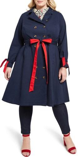 Plus Size Navy and Red Trench Coat - alexawebb.com #plussize #alexawebb