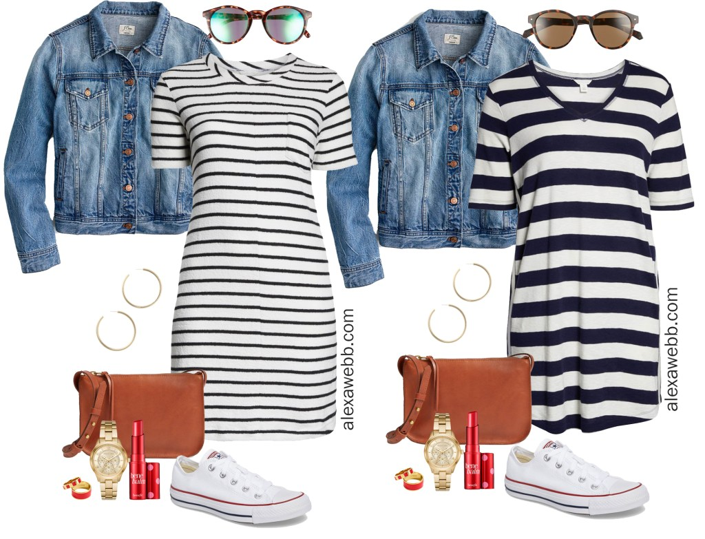 Plus Size Striped Dress Outfit Ideas - Striped Casual Dress, Crossbody Bag, Sneakers - Plus Size Fashion for Women - alexawebb.com #plussize #alexawebb
