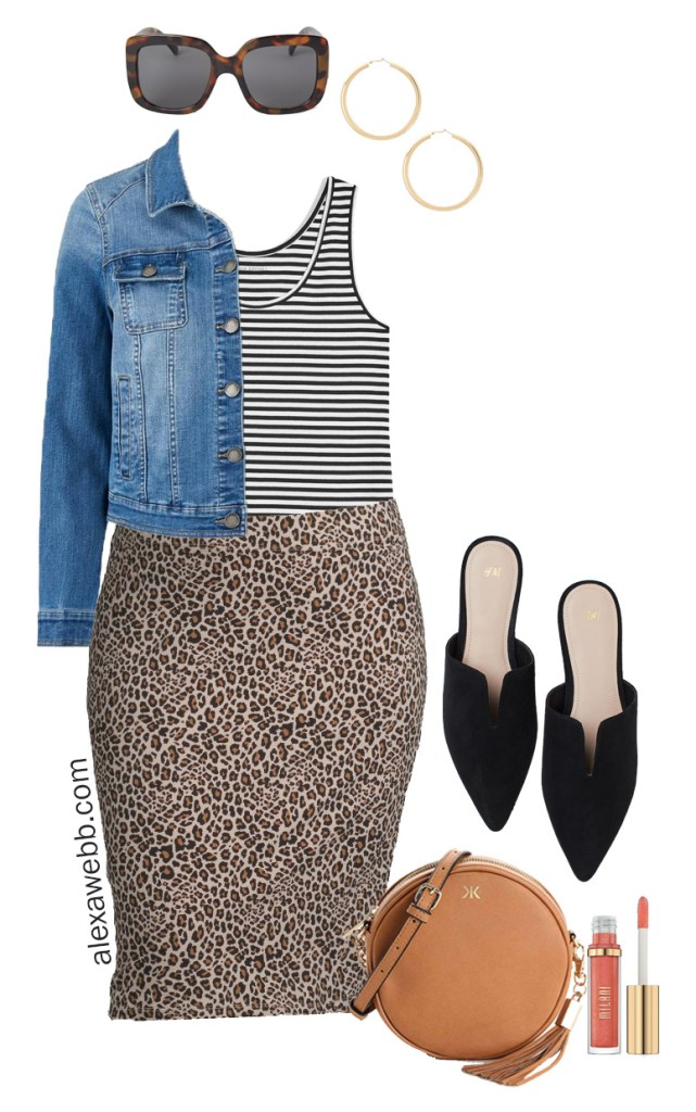 Plus Size on a Budget Outfit Idea - Leopard Skirt, Mules, Denim Jacket - Plus Size Fashion for Women - alexawebb.com #plussize #alexawebb
