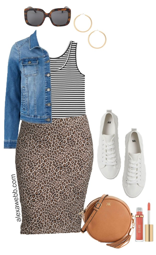 Plus Size on a Budget Outfit Idea - Leopard Skirt, Sneakers, Denim Jacket - Plus Size Fashion for Women - alexawebb.com #plussize #alexawebb