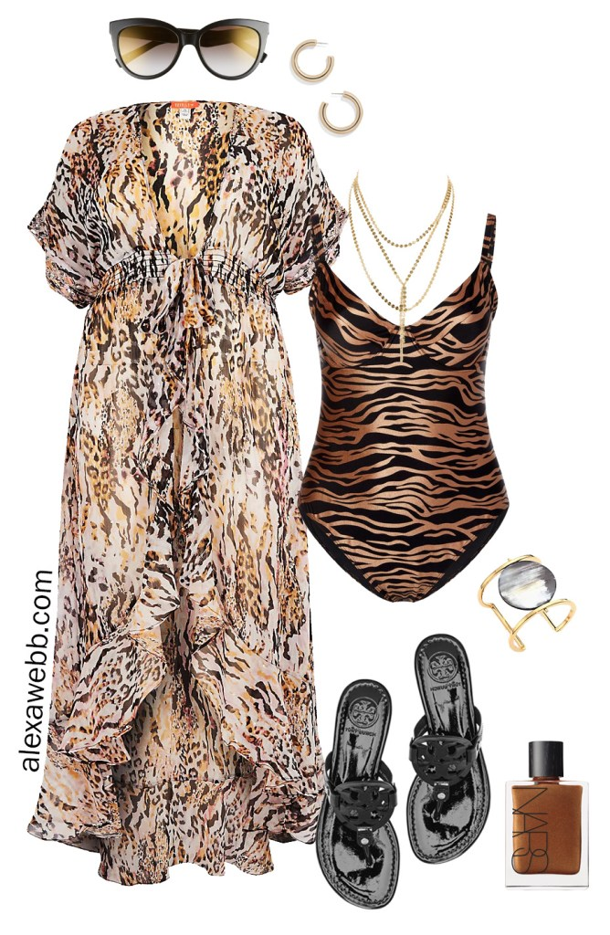 b84c3056fe6d9 Plus Size Sexy Swimwear - Plus Size Animal Print Swimsuit and Cover-Up -  Plus