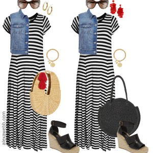 Plus Size Striped Maxi Dress - Plus Size Summer Casual Outfit Idea - alexawebb.com #plussize #alexawebb