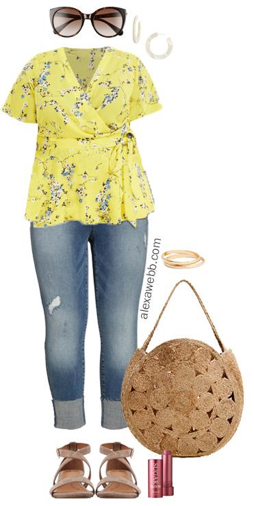 Plus Size Wrap Top Outfits - Plus Size Summer Casual Outfit - alexawebb.com #plussize #alexawebb