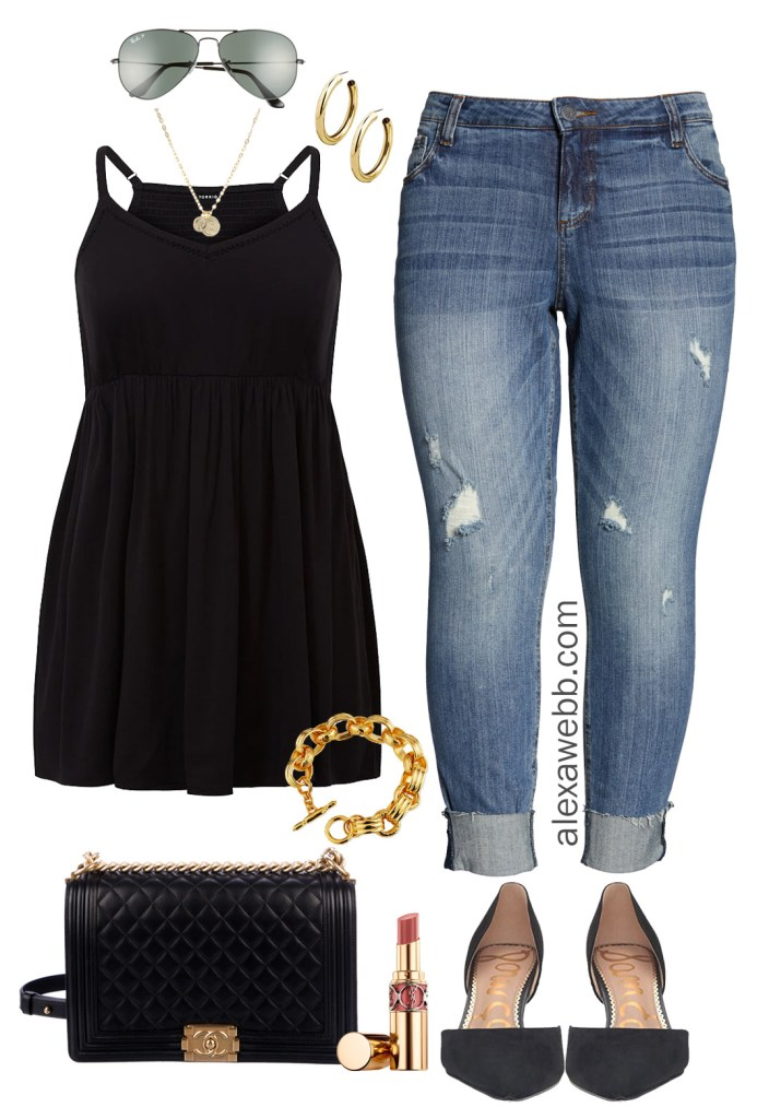 Plus Size Chic Casual Summer Outfit - Babydoll Top, Jeans, Heels, Chanel Bag - Night Out Outfit - alexawebb.com #plussize #alexawebb