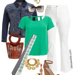 Plus Size White Bootcut Jeans Outfit - Plus Size Denim Jacket, Bright Green Top, Wedge Sandals, White Jeans - Alexa Webb - alexawebb.com #plussize #alexawebb