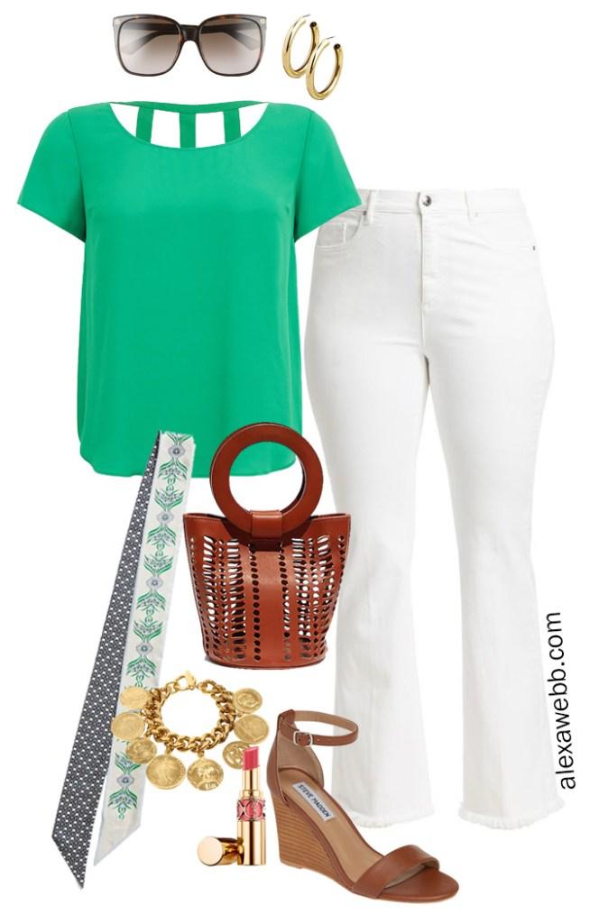 Plus Size White Bootcut Jeans Outfit - Plus Size Bright Green Top, Wedge Sandals, White Jeans - Alexa Webb - alexawebb.com #plussize #alexawebb