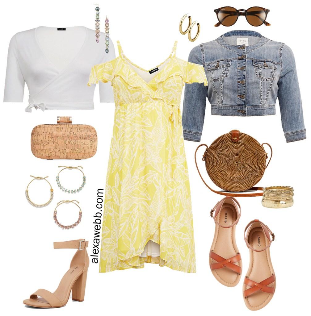 Plus Size Weekend Wedding Packing List - Plus Size Yellow Palm Summer Dress - Plus Size Wedding Guest Outfit - alexawebb.com #Plussize #alexawebb