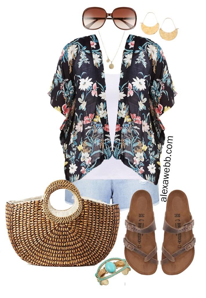 Plus Size Kimono Outfit Ideas - Boho Day - Summer - Denim Shorts, Birkenstock Sandals, Straw Tote, Floral Kimono - Plus Size Fashion for Women - alexawebb.com #Plussize #alexawebb