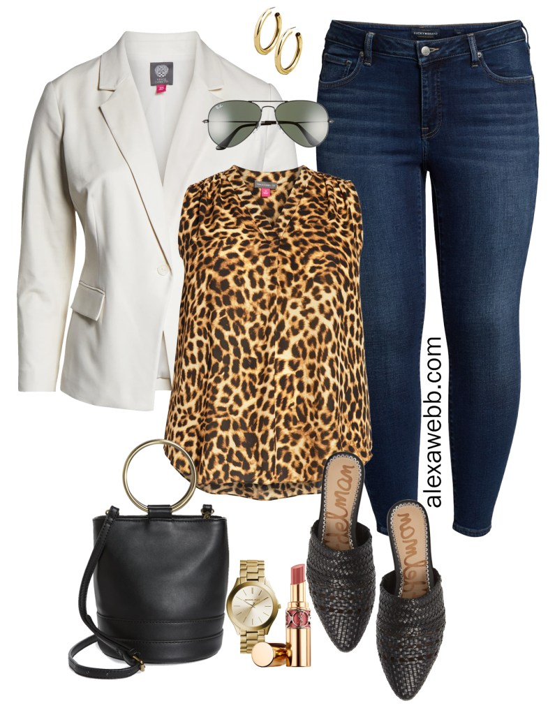 Plus Size Leopard Print Top for Casual Day Outfit - Plus Size White Blazer, Leopard Top, Skinny Ankle Jeans, Bucket Bag, Mules - alexawebb.com #plussize #alexawebb
