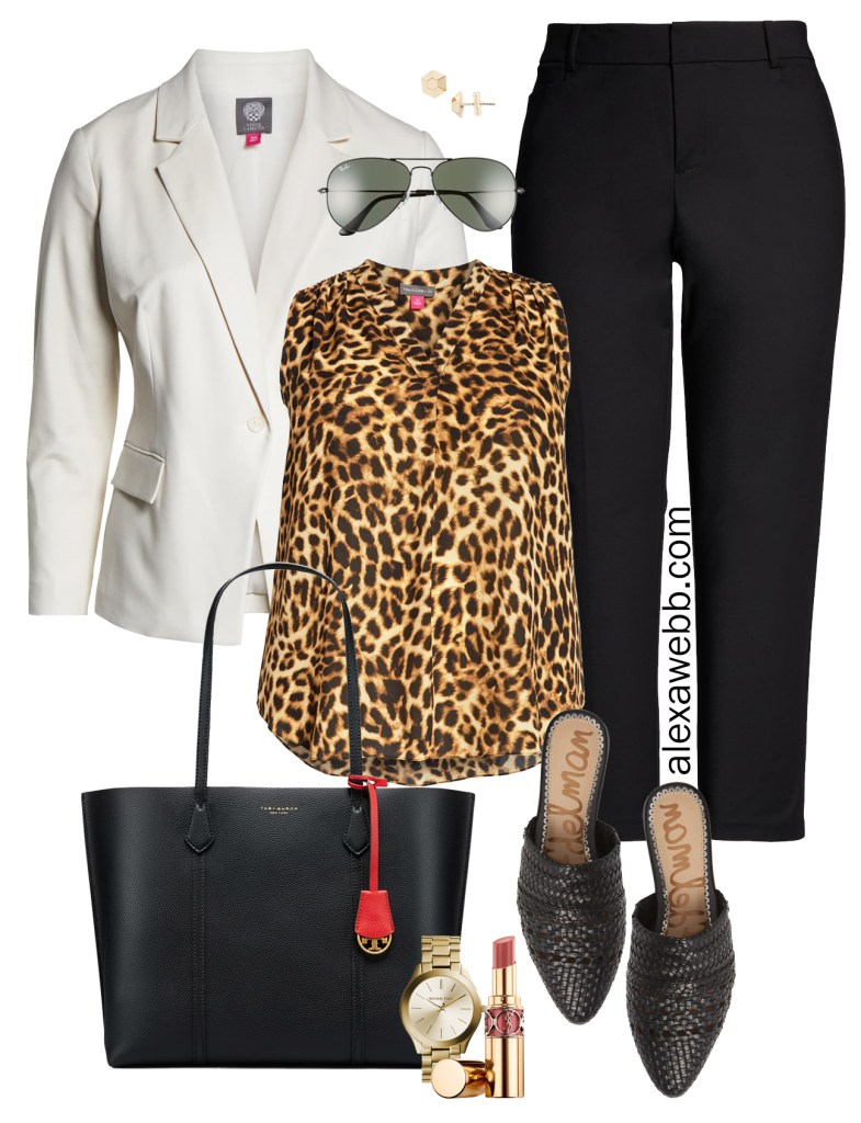 Plus Size Leopard Print Top for Work - Plus Size White Blazer, Leopard Top, Black Pants, Tote Bag, Mules - alexawebb.com #alexawebb #plussize #workwear
