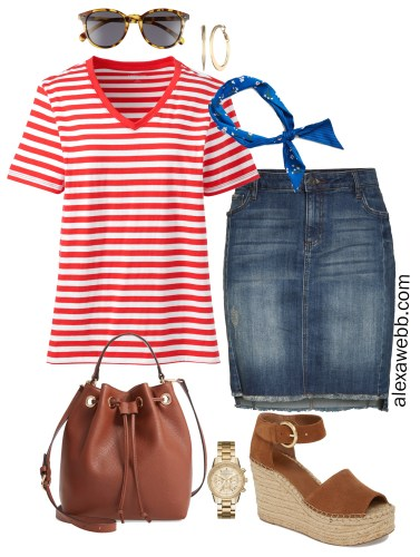 Plus Size Red Striped Tee Outfit - Summer Casual Denim Skirt - alexawebb.com #plussize #alexawebb