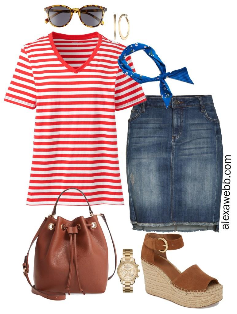 Plus Size Red Striped Tee Outfit - Summer Casual Denim Skirt - alexawebb.com #plussize #alexawebb