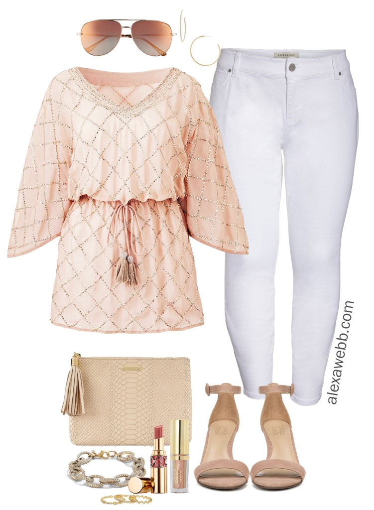 Plus Size Sequin Tunic Summer Outfit - Date Night Out Outfit Idea - alexawebb.com #plussize #alexawebb