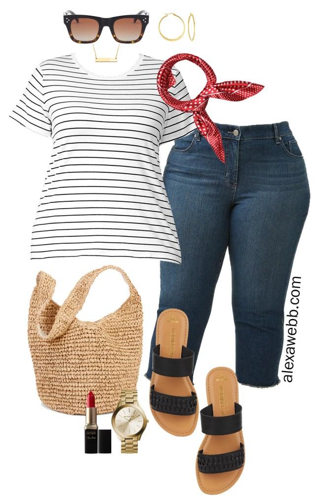 Plus Size Simple Summer Outfit Idea - Plus Size Striped T-Shirt, Red Scarf, Capri Jeans, Straw Bag, Flat Sandals - Plus Size Fashion for Women - alexawebb.com #plussize #alexawebb #WalmartFashion #WeDressAmerica