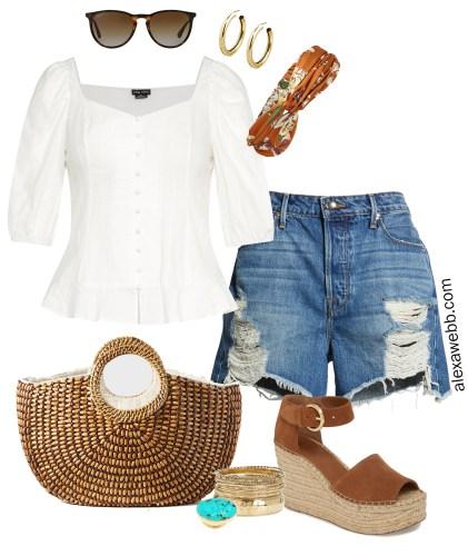 Plus Size Boho Outfit - Summer Cut-Off Denim Shorts - Espadrille Sandals, Straw Bag - alexawebb.com #plussize #alexawebb