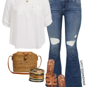 Plus Size Summer Jeans Outfit Ideas - Plus Size Denim Kick Flares, White Shirt, Gucci Belt, Sandals, Straw Bag - Plus Size Fashion for Women - alexawebb.com #plussize #alexawebb