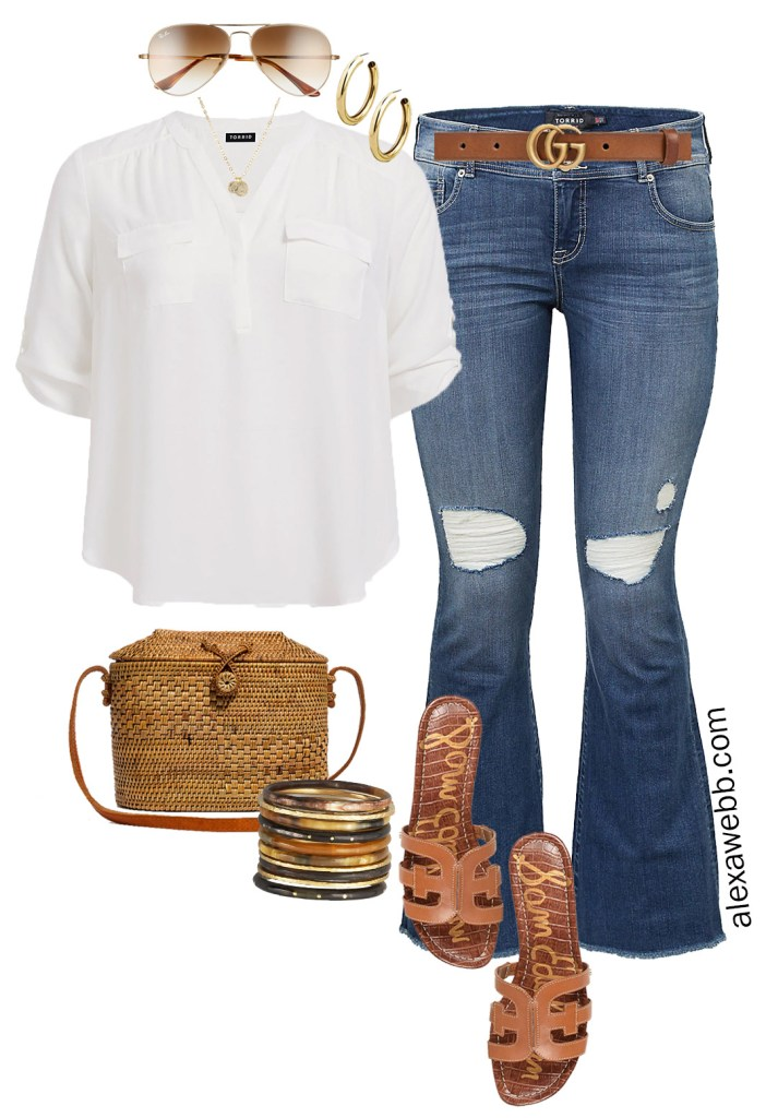 Plus Size Summer Jeans Outfit Ideas- Plus Size Denim Kick Flares, White Shirt, Gucci Belt, Sandals, Straw Bag - Plus Size Fashion for Women - alexawebb.com #plussize #alexawebb