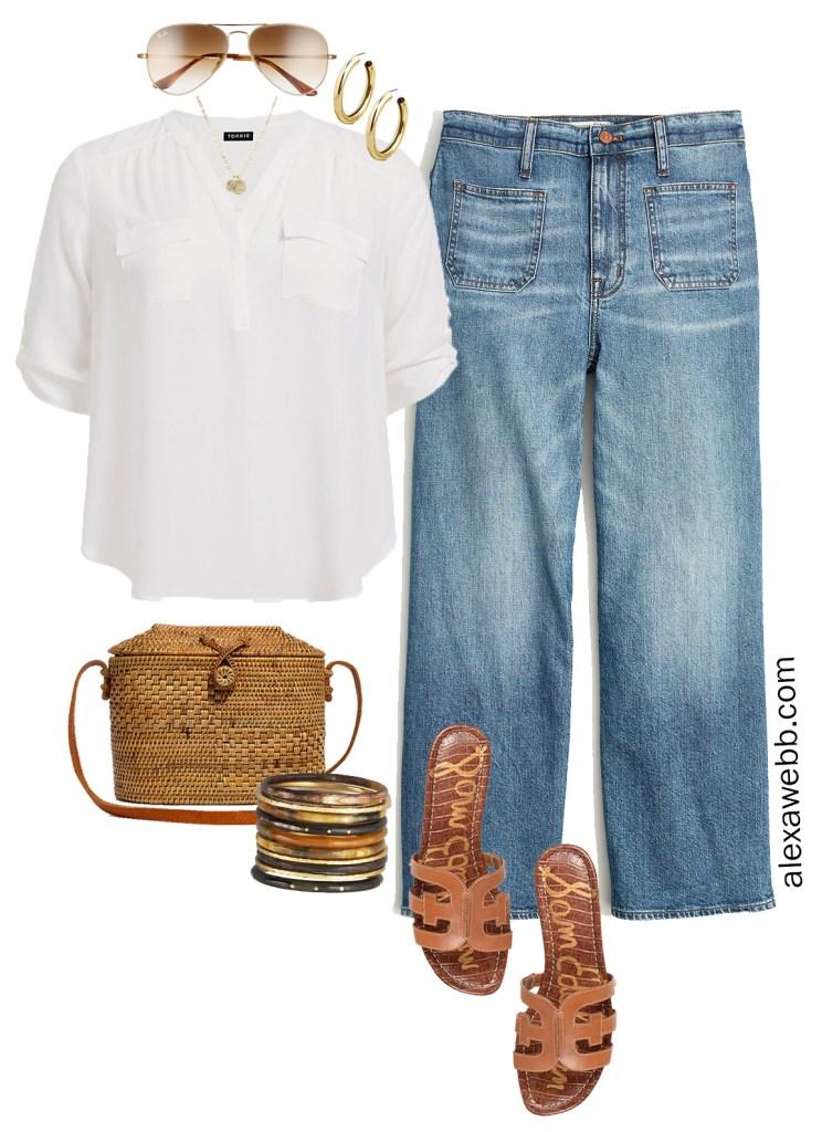 Plus Size Summer Cropped Wide Leg Jeans Outfit Ideas- Plus Size Denim Cropped Wide Leg Jeans, White Shirt, Gucci Belt, Sandals, Straw Bag - Plus Size Fashion for Women - alexawebb.com #plussize #alexawebb