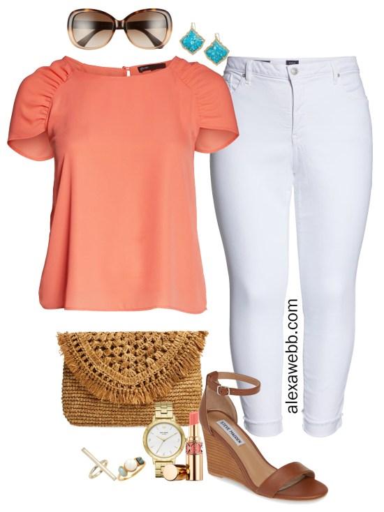 Plus Size Nordstrom Sale Outfit - Coral Top, White Jeans, Sandals - alexawebb.com #plussize #alexawebb