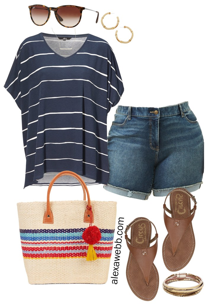 Plus Size Casual Summer Outfit - Plus Size Denim Shorts and Striped Top - Alexawebb.com #plussize #alexawebb
