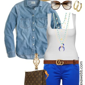 Plus Size Casual Shorts Outfit - Blue Shorts, Tank, Chambray Denim Shirt, Gucci Belt, Sandals - alexawebb.com #plussize #alexawebb