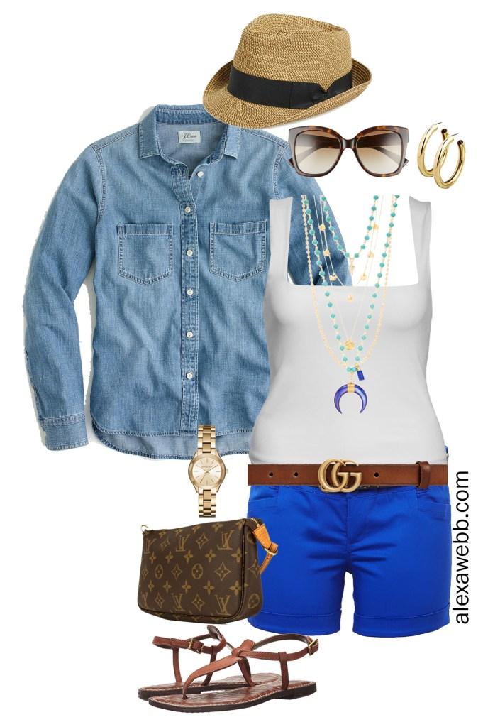 Plus Size Casual Shorts Outfit - Blue Shorts, Tank, Chambray Denim Shirt, Gucci Belt, Sandals - alexawebb.com #plussize #alexawebb