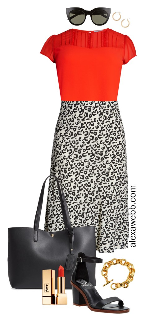 Plus Size Leopard Midi Skirt Summer Work Outfit - Plus Size Fashion for Women - alexawebb.com #plussize #alexawebb